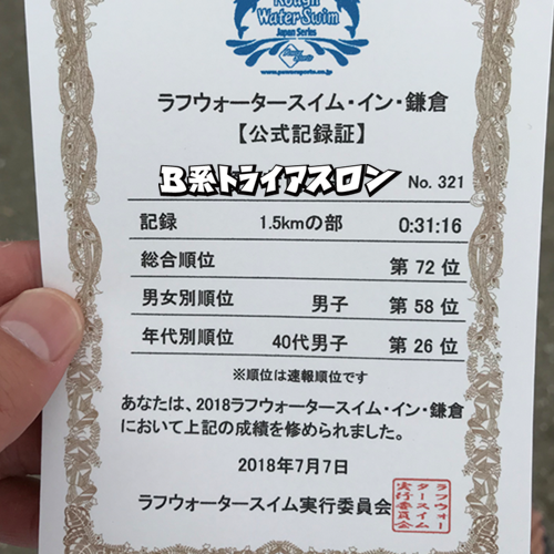 ラフウォータースイム・イン・鎌倉記録証